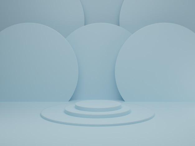 블루 파스텔 배경에 연단과 최소한의 장면. 기하학적 모양. 기하학적 형태와 추상적 인 장면. 3d 렌더링.