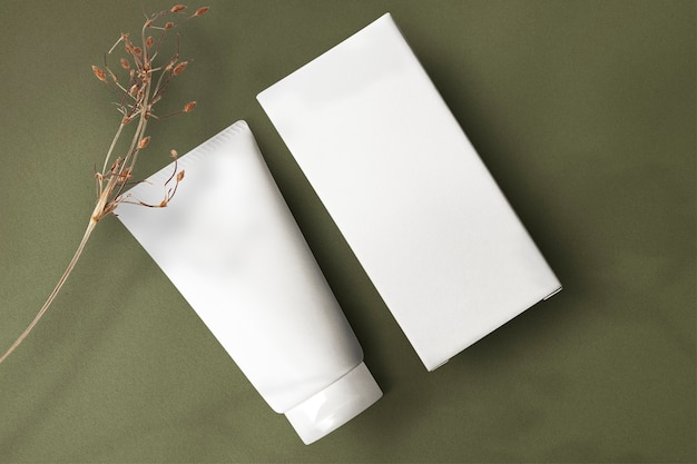 Minimal skincare tube mockup png beauty product packaging