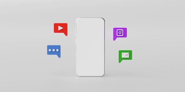 バブルスピーチのソーシャルメディアアプリケーションアイコンと最小限のスマートフォンのモックアップ