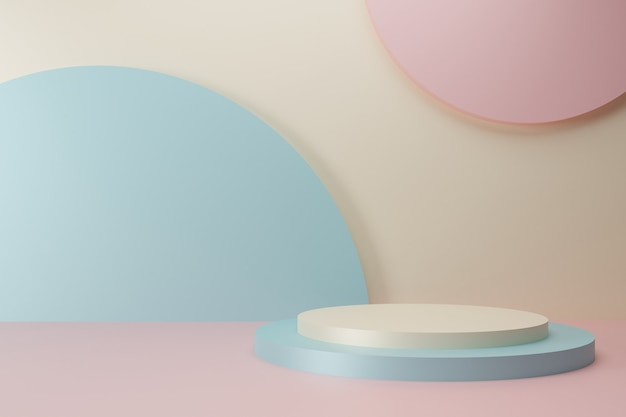 Minimal soft color podium collection on abstract background 3d render