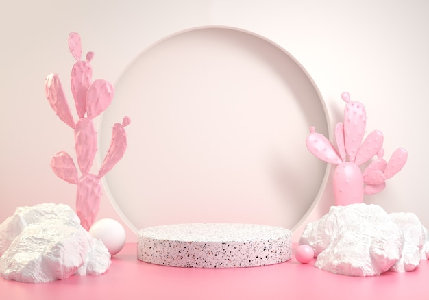 Minimal stage with pink summer fashion concept cactus abstract background 3d render Premium Photo