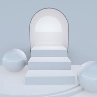 Минимальная сцена лестницы для демонстрации продукта, 3d-рендеринг
