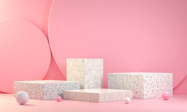 Minimal  step marble podium display collection on pink background 3d render