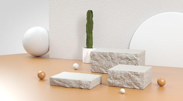 베이지 색 배경에 최소한의 돌 연단