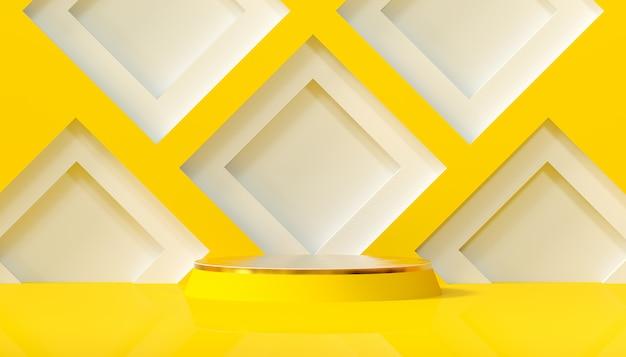 丸い台座と黄色の背景に幾何学的形状を持つ最小限のスタジオ