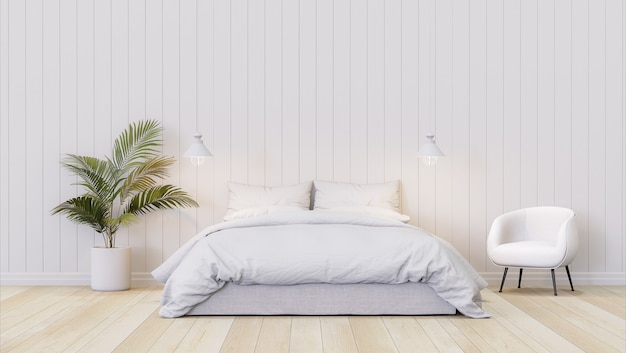 빈 흰색 판자 벽 3d 렌더가 있는 미니멀한 스타일의 침실은 작은 노란색 야자수로 장식합니다.