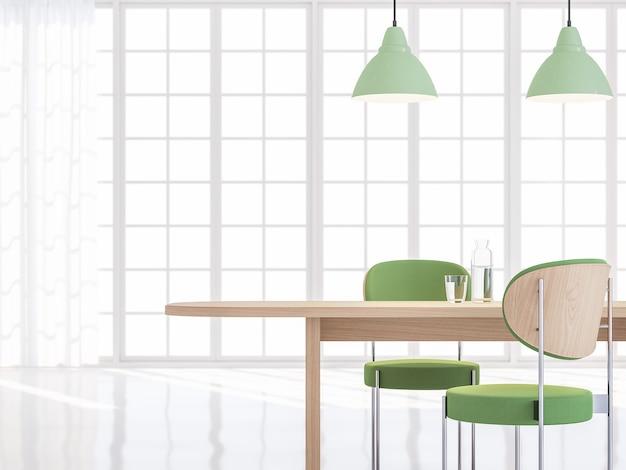 미니멀한 스타일의 식당 3d 렌더나무 테이블녹색 패브릭으로 꾸며진 순수한 흰색 방
