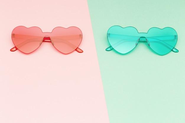 최소한의 스타일 패션 하트 모양의 안경, 현대 선글라스.