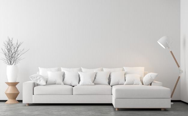 3d визуализация гостиной в минималистском стиле с белым тканевым диваном
