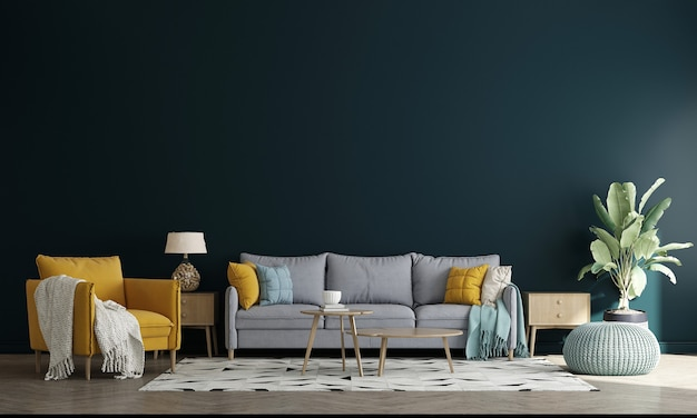 Minimal style living room with sofa and tea table. minimalist living room design, and empty white wall background, 3d illustration