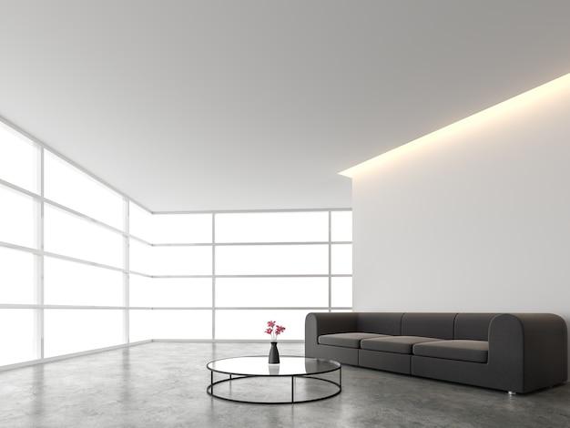 흰색 배경 3d 렌더가 있는 최소한의 스타일 거실
