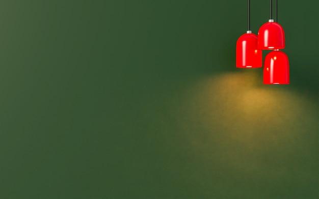 Минимальный стиль. красная лампа с светом на зеленом фоне.
