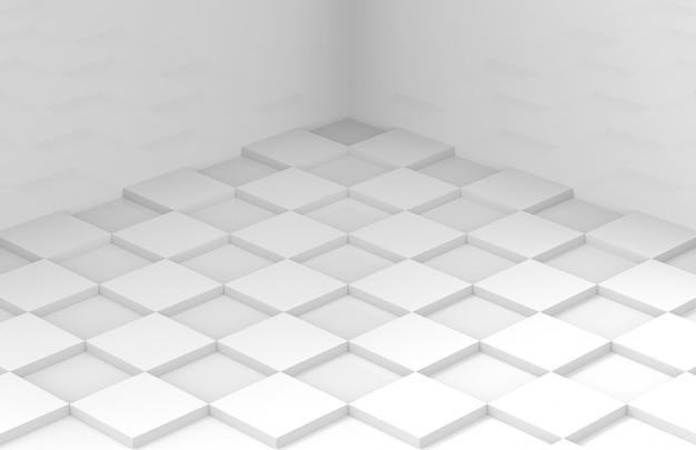 Minimal style white square grid tile floor corner room wall