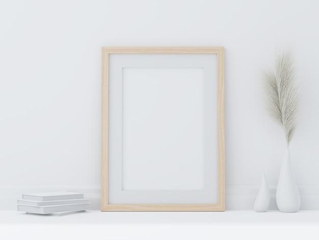白い部屋の床に置かれた最小限のスタイルの木製ポスターフレーム3dレンダリング花瓶と白い本の干し草の花で飾られた