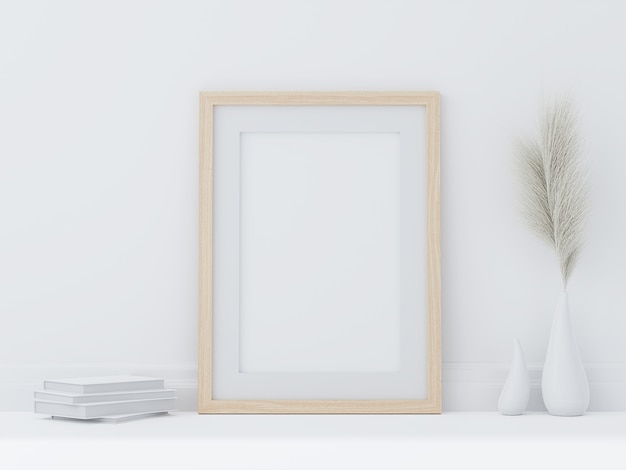 Minimal style wooden poster frame put on white room floor 3d render decorated with hay flowers in a vase and white book