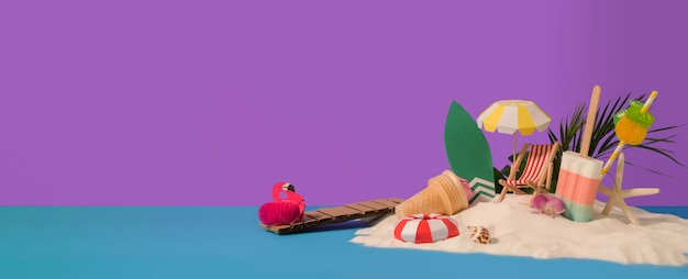 Minimal summer concept with beach accessories, ice-creams, summer fruits and sand