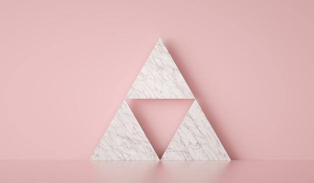 Минимальный шаблон на мраморном треугольнике и розовом фоне d визуализации