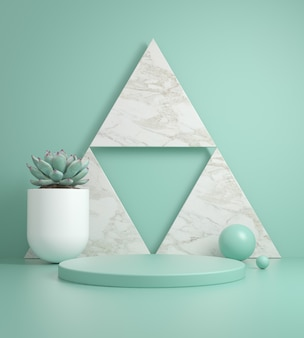 Minimal template  podium on marble triangle and mint background 3d render