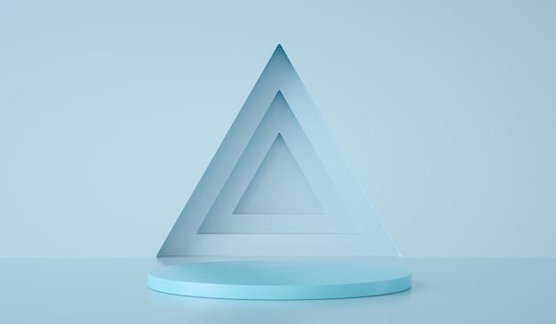 Минимальный подиум шаблона на треугольнике и синем фоне, 3d визуализация
