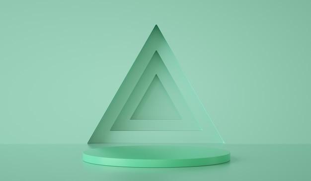 Минимальный шаблон подиума на треугольнике и зеленом фоне d визуализации