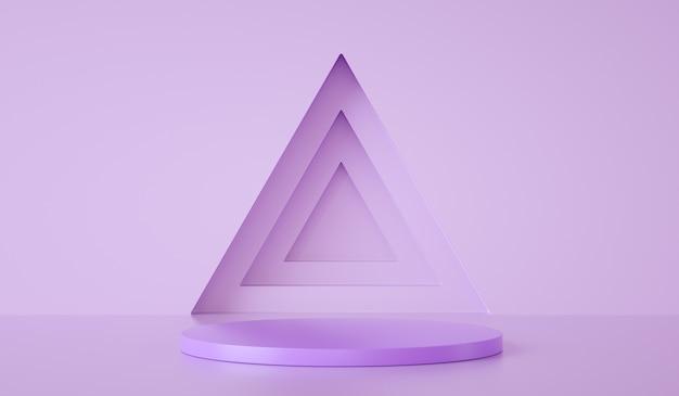 Минимальный шаблон подиума на треугольнике и фиолетовом фоне d рендеринга