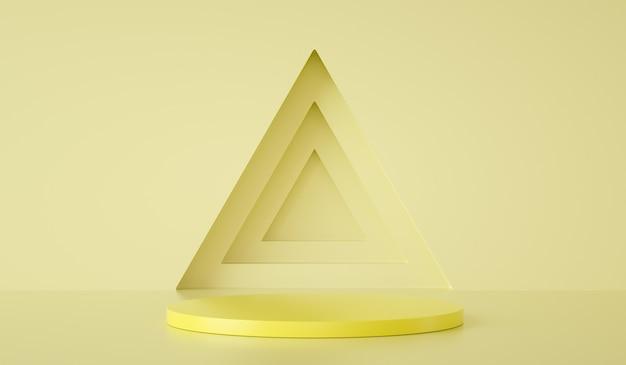 Минимальный шаблон подиума на треугольнике и желтом фоне d визуализации