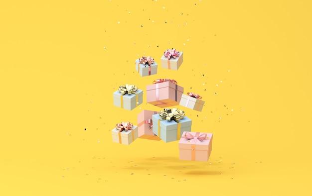 Минимальная модная сцена падающих подарочных коробок на золотом конфетти, 3d-рендеринг.