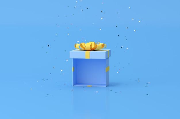 Минимальная модная сцена открытой подарочной коробки на золотом конфетти, 3d-рендеринг.