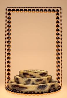 기하학적 형태의 최소 수직 3d 장면. 베이지 색 파스텔 배경에 레오파드 인쇄 연단. 화장품을 보여주는 장면