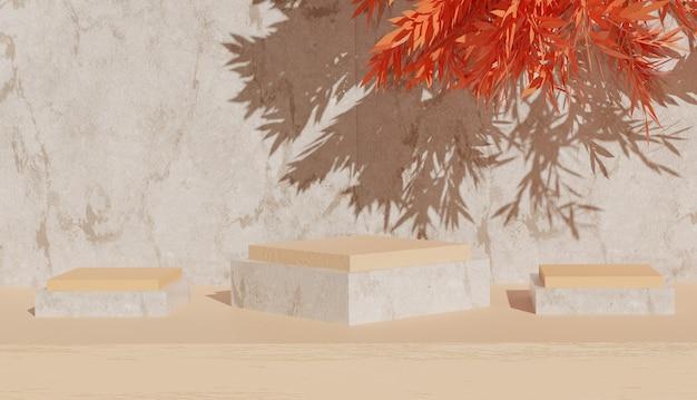 製品のプレミアム写真のためのオレンジの葉と木製の背景を持つ大理石の表彰台の最小限のビュー