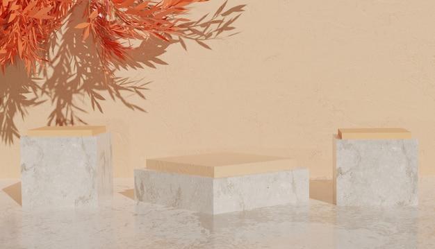 제품 프리미엄 사진을 위한 주황색 잎이 있는 대리석 연단의 최소한의 보기