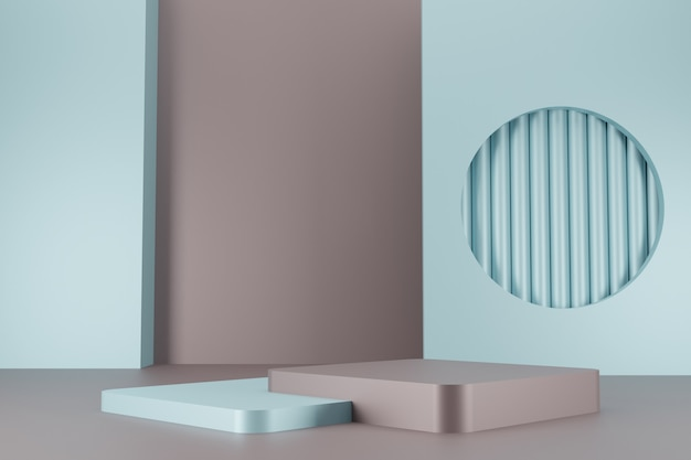 Minimal vintage color podium collection on abstract background 3d render