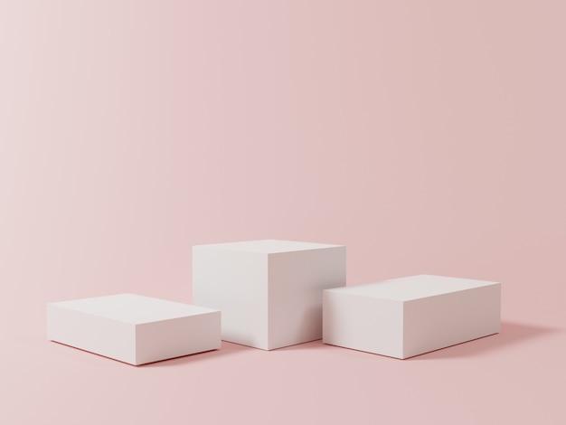 製品のプレゼンテーション、3dレンダリングの技術的概念を示すためのピンクのパステルカラーの背景を持つ3つの空白の立方体の表彰台の最小限の白い色。