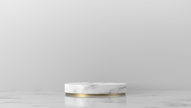Minimal white and gold marble cylinder showcase podium in background