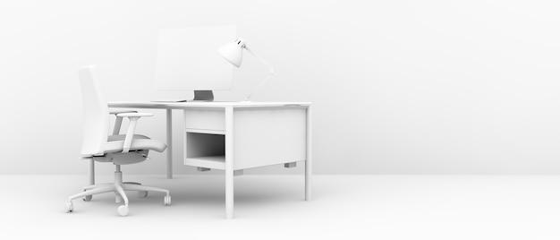 3d 렌더링에서 최소한의 흰색 사무실