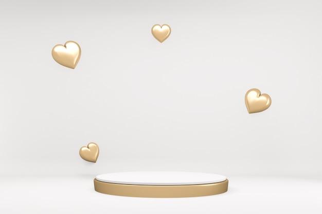 흰색 바탕에 제품에 대 한 황금 테두리와 최소한의 흰색 연단. 3d 렌더링