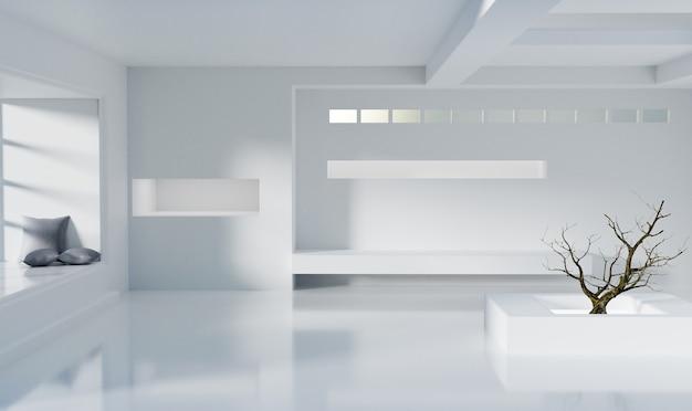 Минимальная белая комната с деревом в комнате, рендеринг 3d иллюстрации