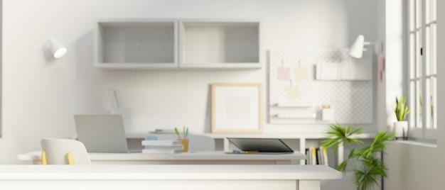 Минимальное белое рабочее пространство с канцелярскими принадлежностями, копией пространства, 3d-рендерингом, 3d-иллюстрацией