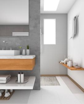 Minimal wood sink in bathroom