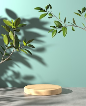 Minimal wood stage for show product on cement floor and sunlight plant shadow on mint background 3d render