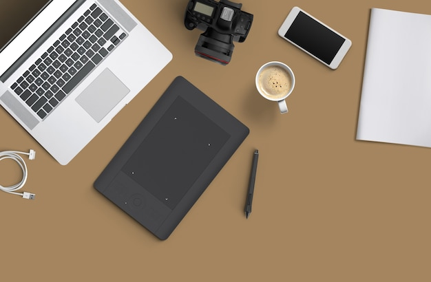 Minimal work space : laptop, camera, coffee, camera, pen, pencil, notebook, smartphone stationery on brown background for copy space flat lay top view