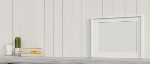 Минимальное рабочее пространство с книгами, горшком с кактусом и рамкой для макета, 3d-рендеринг, 3d-иллюстрация