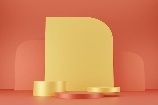 추상적 인 배경 3d 렌더링에 최소한의 노란색과 주황색 연단 컬렉션