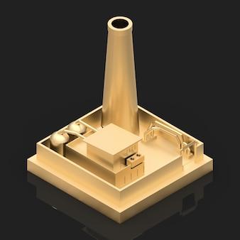 Изометрическая мультипликационная фабрика в стиле minimal. золотое здание на черном глянцевом фоне