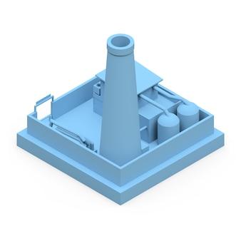 Изометрическая мультипликационная фабрика в стиле minimal. синее здание на белой поверхности