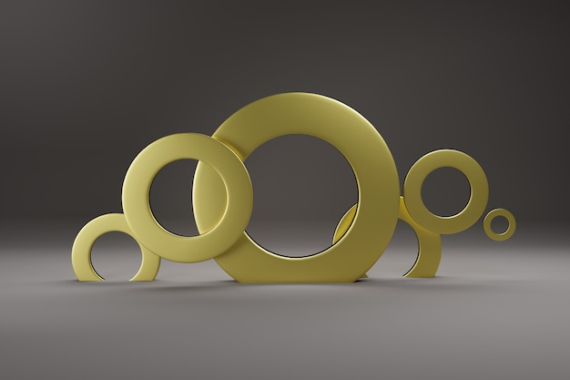 Minimalism, abstract geometric shapes and forms background 3d render.
