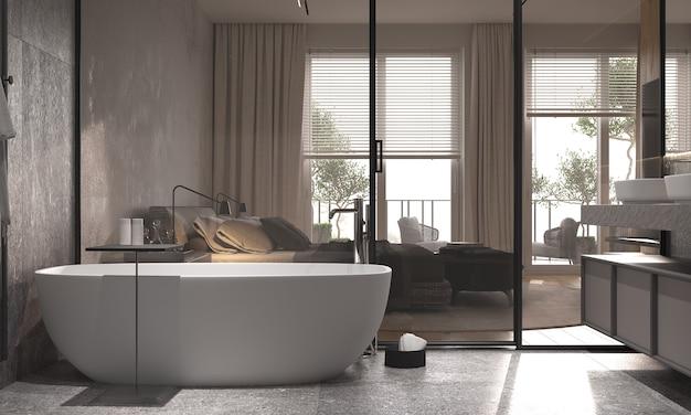 ミニマリズムモダンなインテリアバスタブとガラスの仕切りのあるバスルームは、ベッドルームとバスルームを仕切っています。 3dレンダリング。