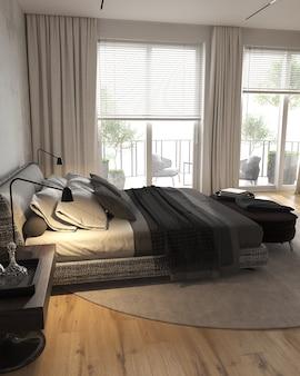 침대 옆 탁자와 벤치가있는 탁 트인 창문이있는 미니멀리즘 현대적인 인테리어 침실입니다. 3d 렌더링.