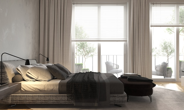 Minimalism modern interior bedroom with panoramic windows with bed and bedside tables and bench. 3d rendering.