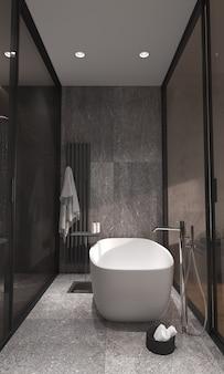 Минимализм в современном интерьере ванной комнаты со стеклянной перегородкой.
